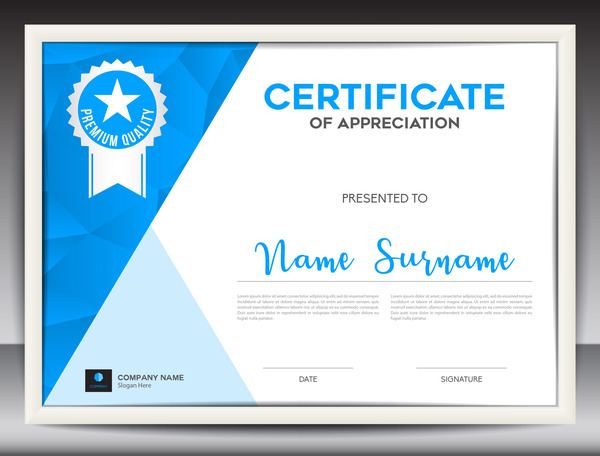 Blue certificate template layout design vector 02 - WeLoveSoLo