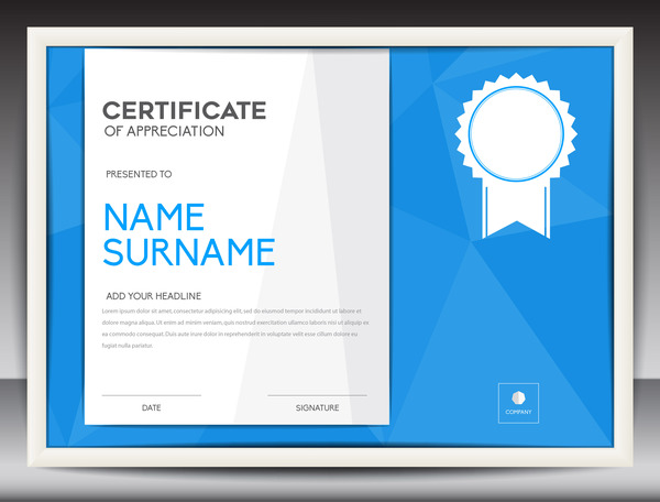 Blue certificate template layout design vector 06 - WeLoveSoLo - certificate layout
