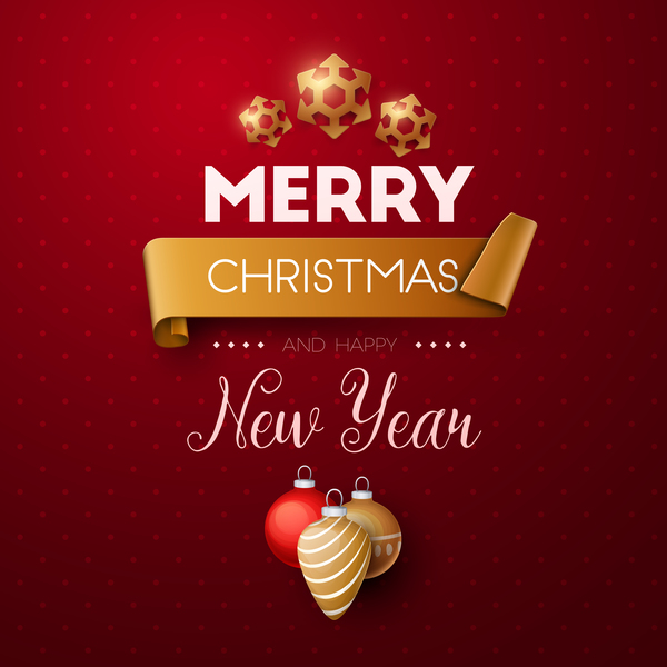 Merry christmas and happy new year background vector 02 - WeLoveSoLo