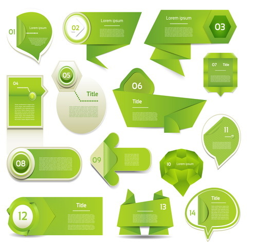 Origami green banners design vector - WeLoveSoLo