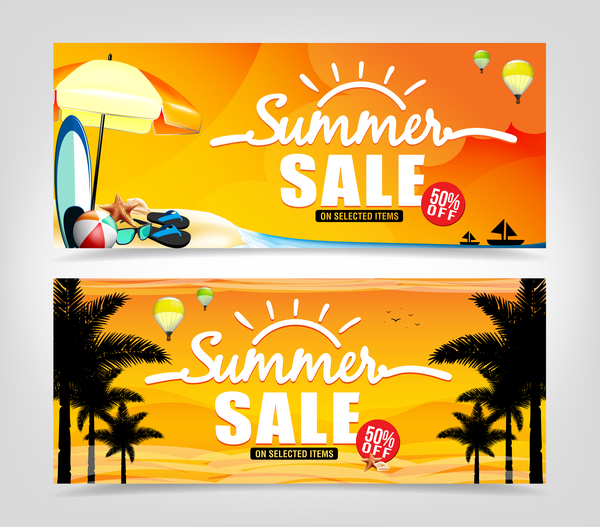 Summer sale banner template vectors 01 - WeLoveSoLo