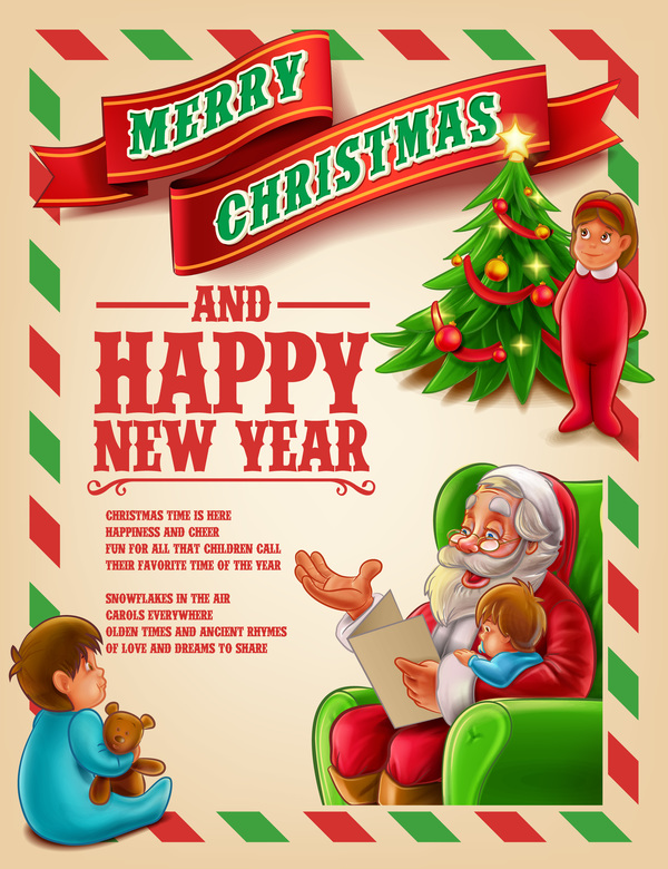 Vector 2017 christmas poster template vector 02 - WeLoveSoLo