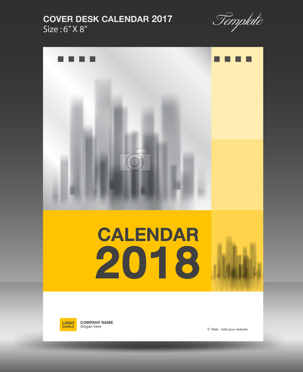 Yellow vertical desk calendar 2018 cover template vector - WeLoveSoLo