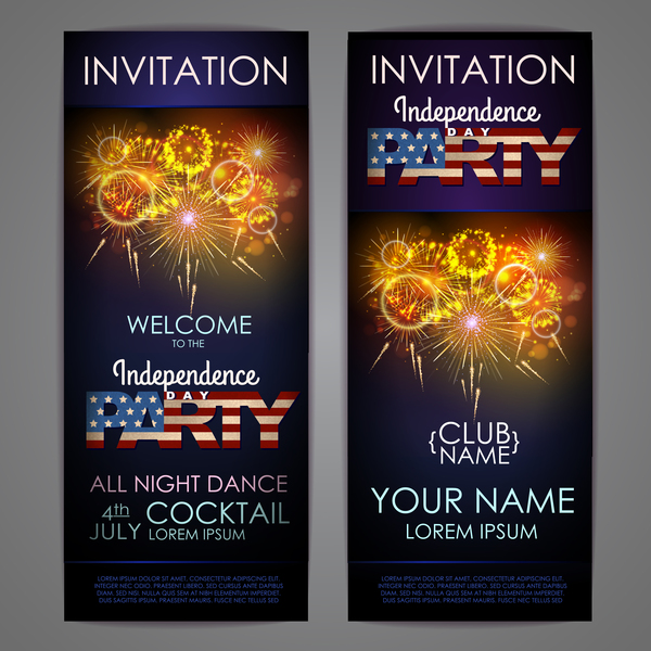 Independence Day party invitation card vector 04 - WeLoveSoLo