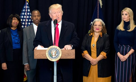 Donald Trump delivers remarks after touring the Smithsonian National Museum of African American History & Culture on February 21, 2017 in Washington, DC. Trump was joined by Dr. Ben Carson (2nd-L), Carson's wife Candy (L), Alveda King (2nd-R), niece of Martin Luther King Jr. and Ivanka Trump.