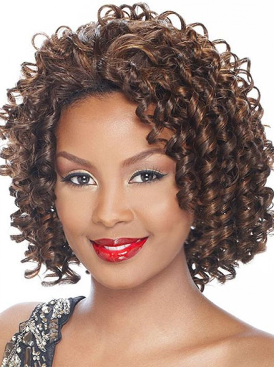 Short Wigs Real Hair Polite Brown Curly Chin Length Human Hair Wigs Half Wigs