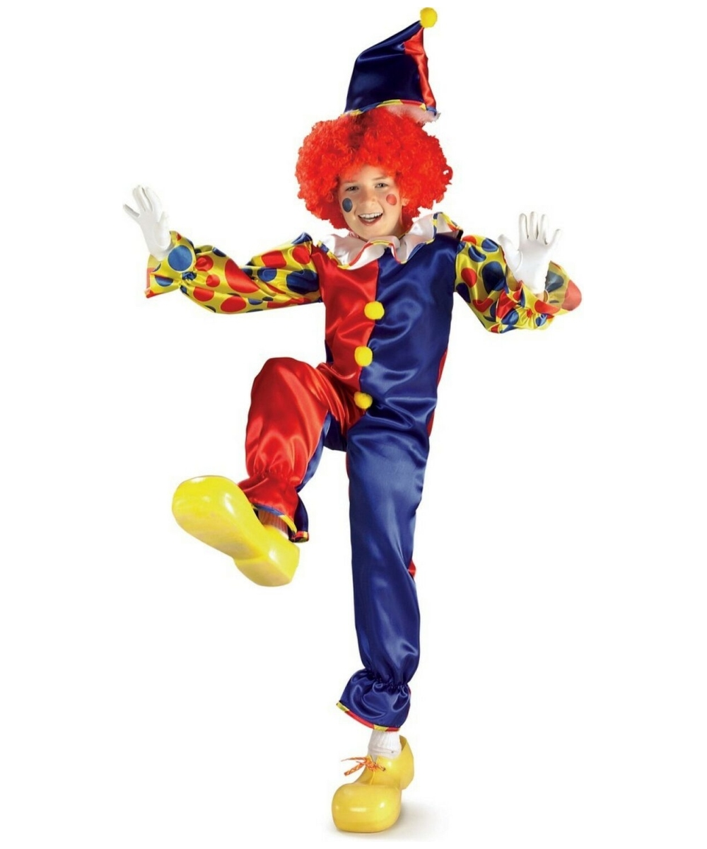 Red Jester Makeup Clown Bubbles Kids Costume Clown Costumes
