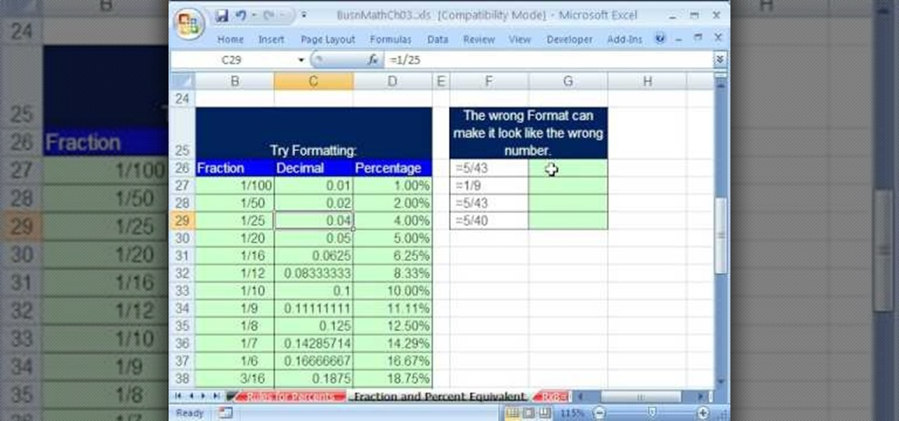 Fraction To Decimal Chart Excel 8 Best Images Of