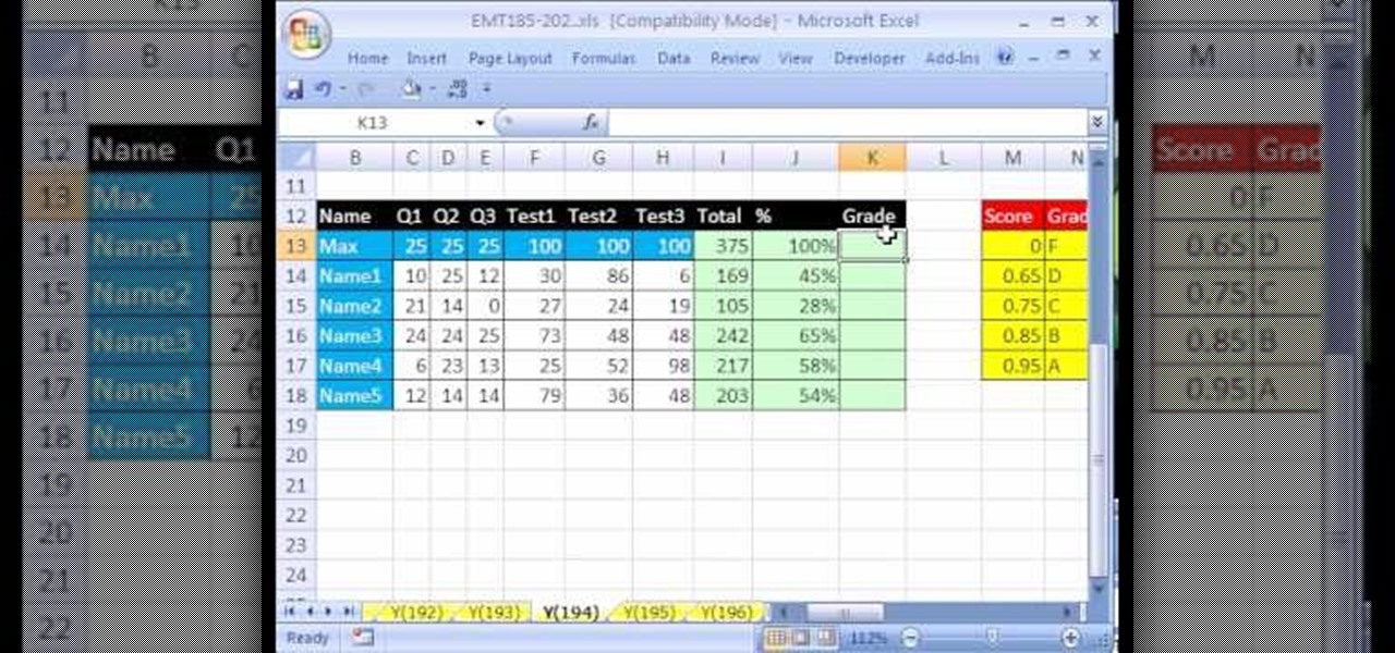 How to Make a gradebook based on percentage scores in Excel