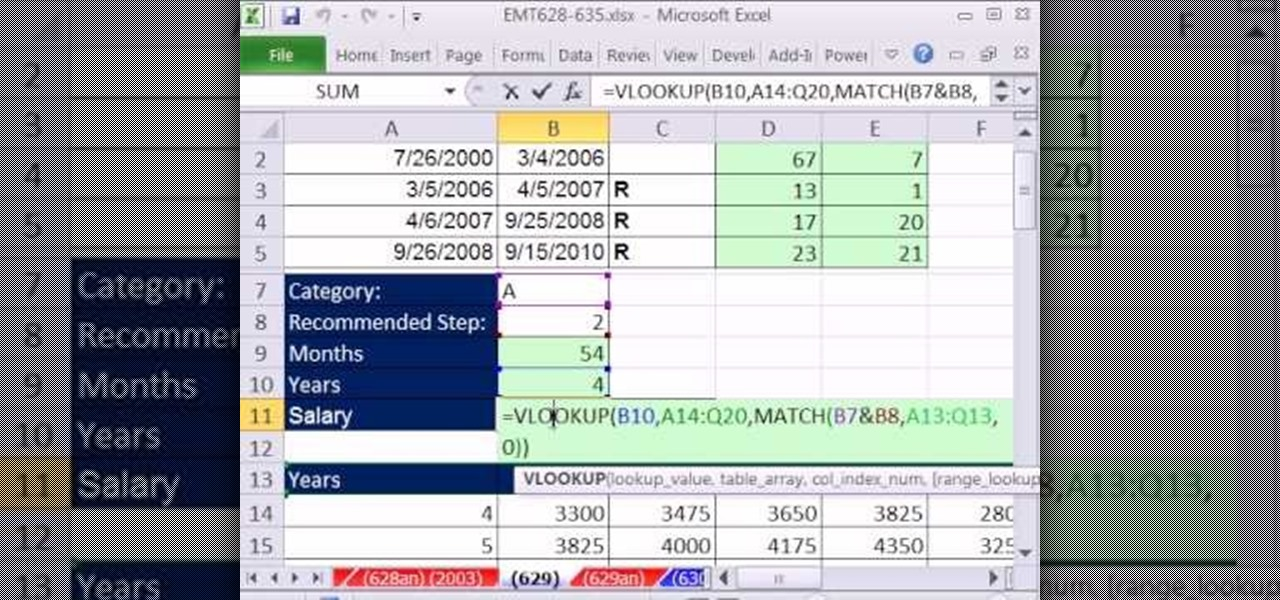 How to Calculate salary based on work experience in MS Excel