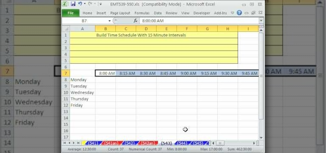 How to Build a 15-minute schedule in Microsoft Excel « Microsoft