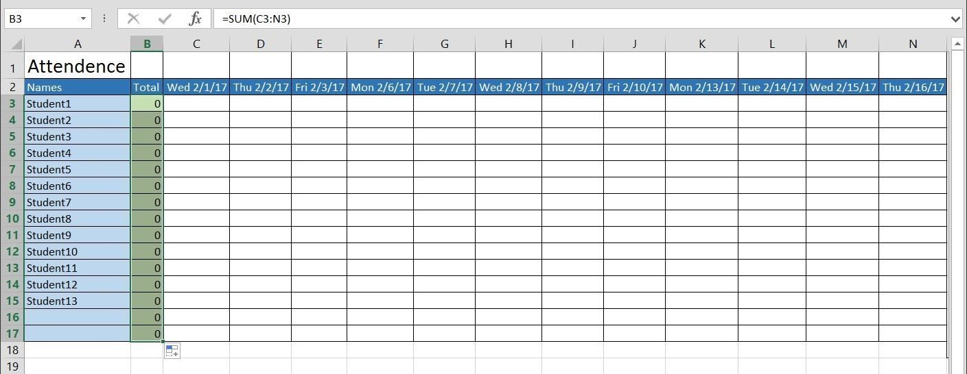 How to Create a Basic Attendance Sheet in Excel « Microsoft Office