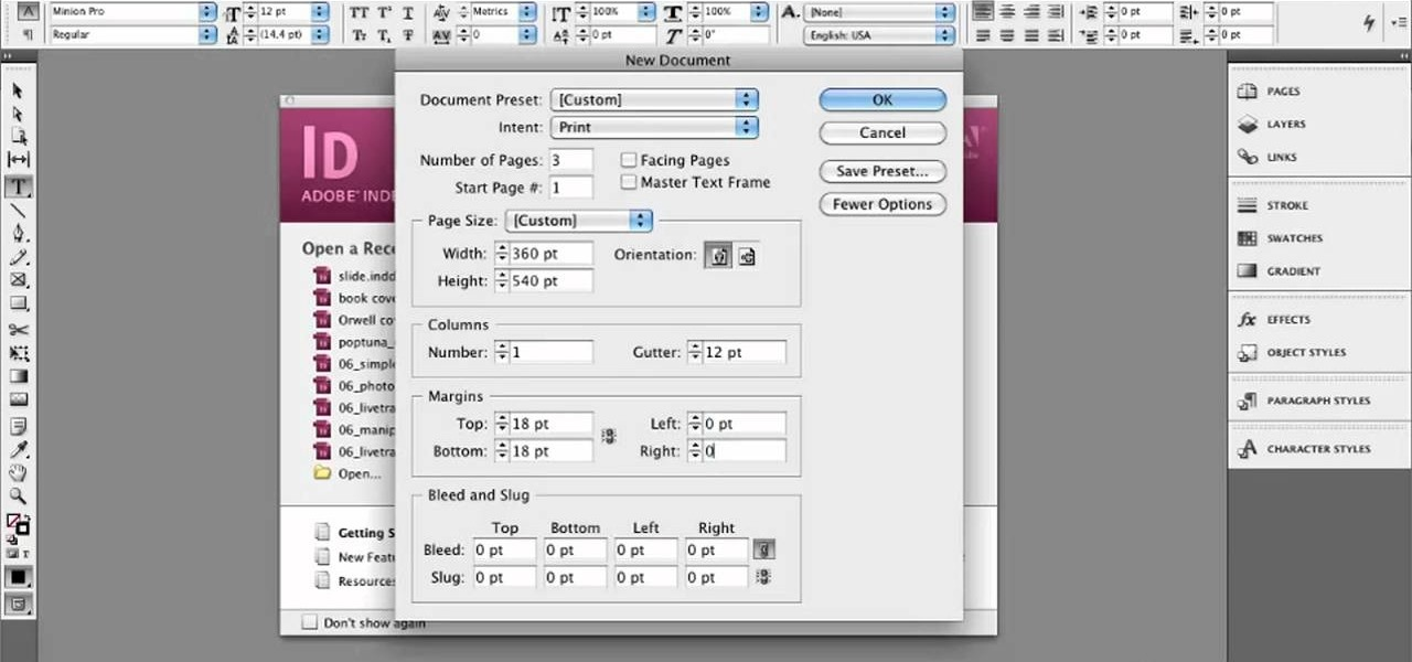 How to Set up a document for book cover design in Adobe InDesign CS5
