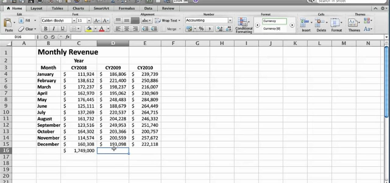 How to Create an AutoSum formula in Microsoft Excel 2010 « Microsoft