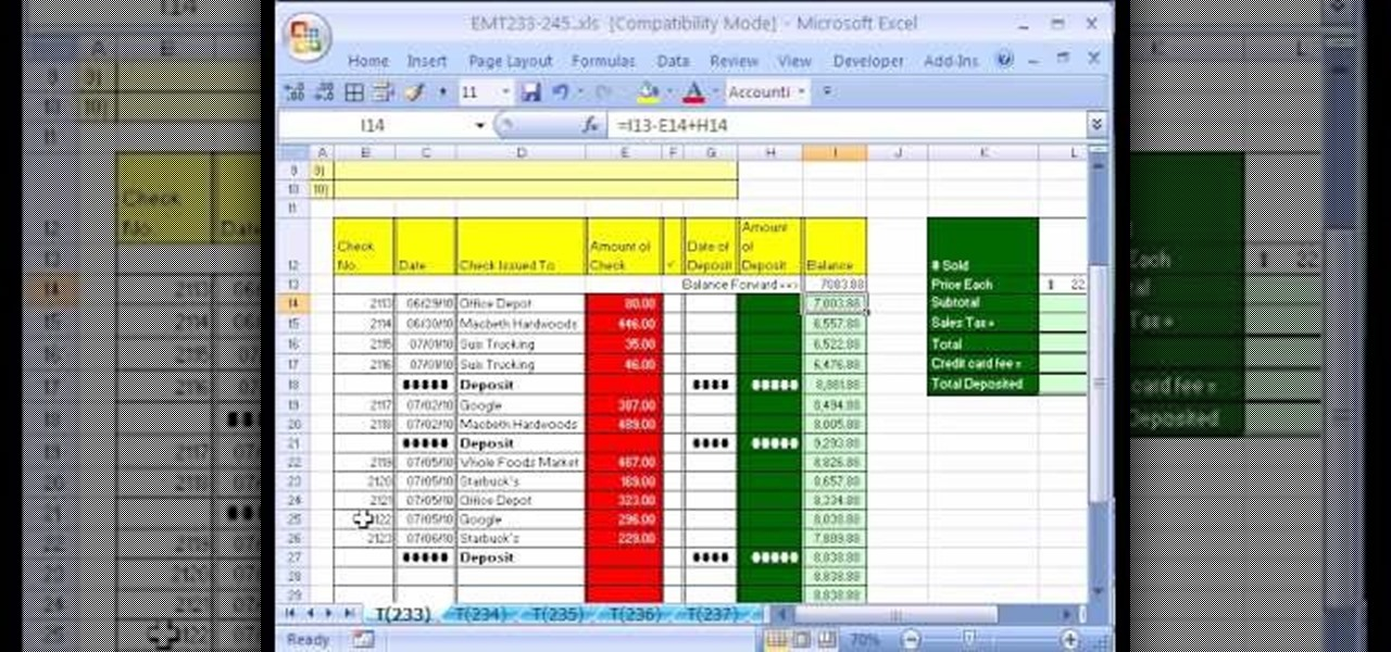 How to Create a checkbook-balancing formula in Excel « Microsoft
