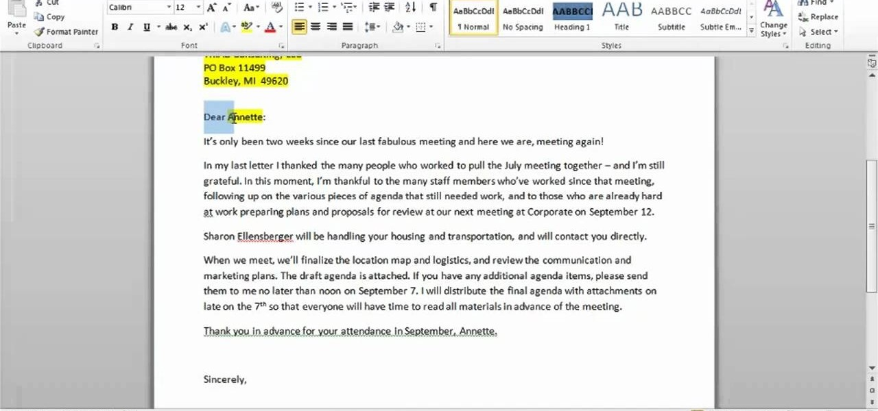 How to Create a simple letter with the Mail Merge in Microsoft Word - how to create an agenda in word