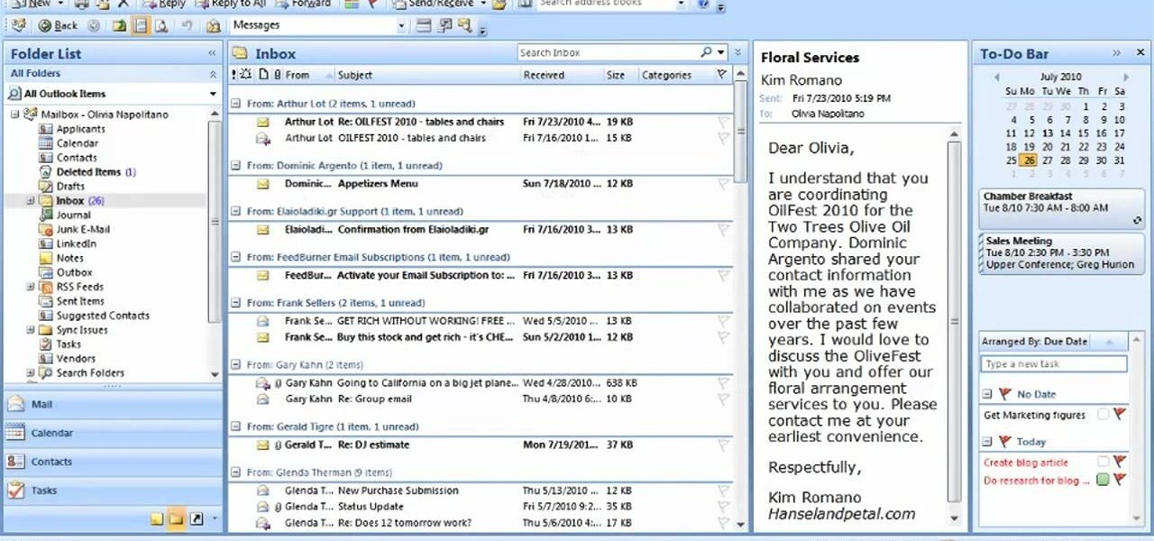 How to Arrange email messages by date or sender in Microsoft Outlook