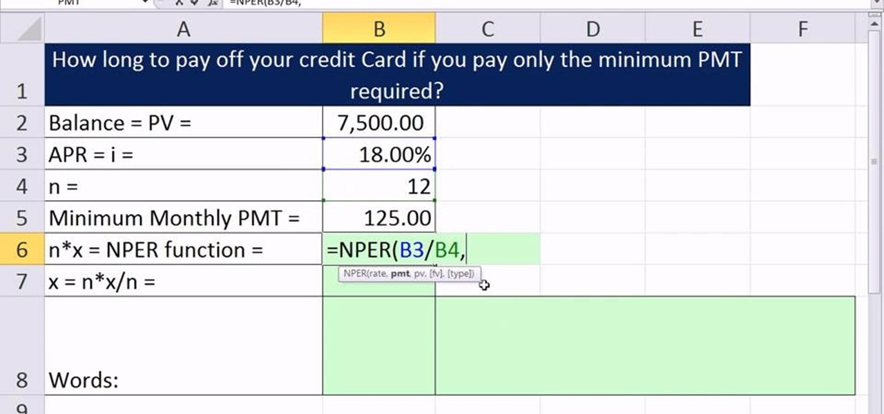 How to Calculate the number of periods it takes to pay off a credit