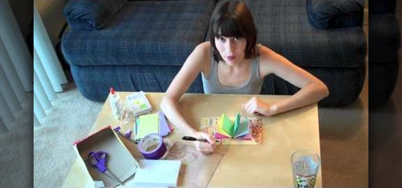 How to Make a simple homemade journal from index cards, dental floss - make index card