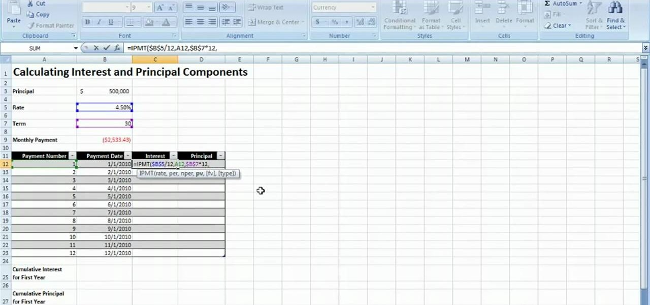 How to Calculate interest on a loan payment in MS Excel 2007