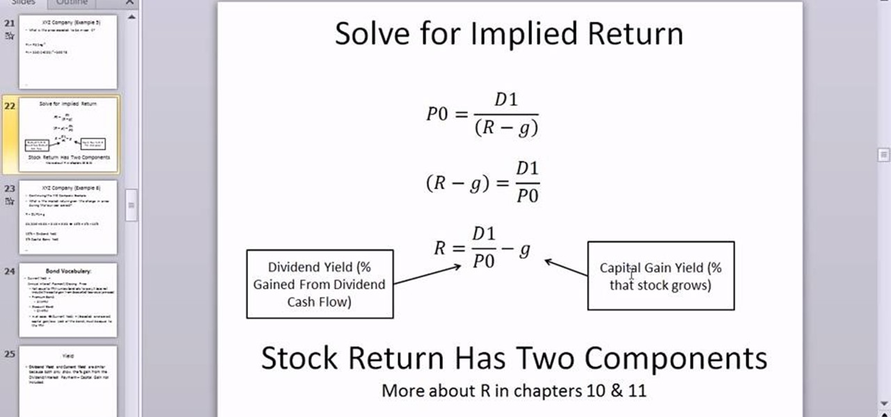How to Calculate implied return using the dividend growth model in