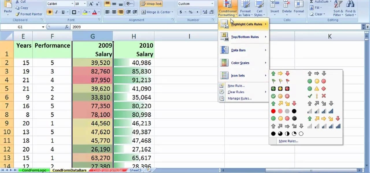 How to Create value-based formatting using data bars in Excel