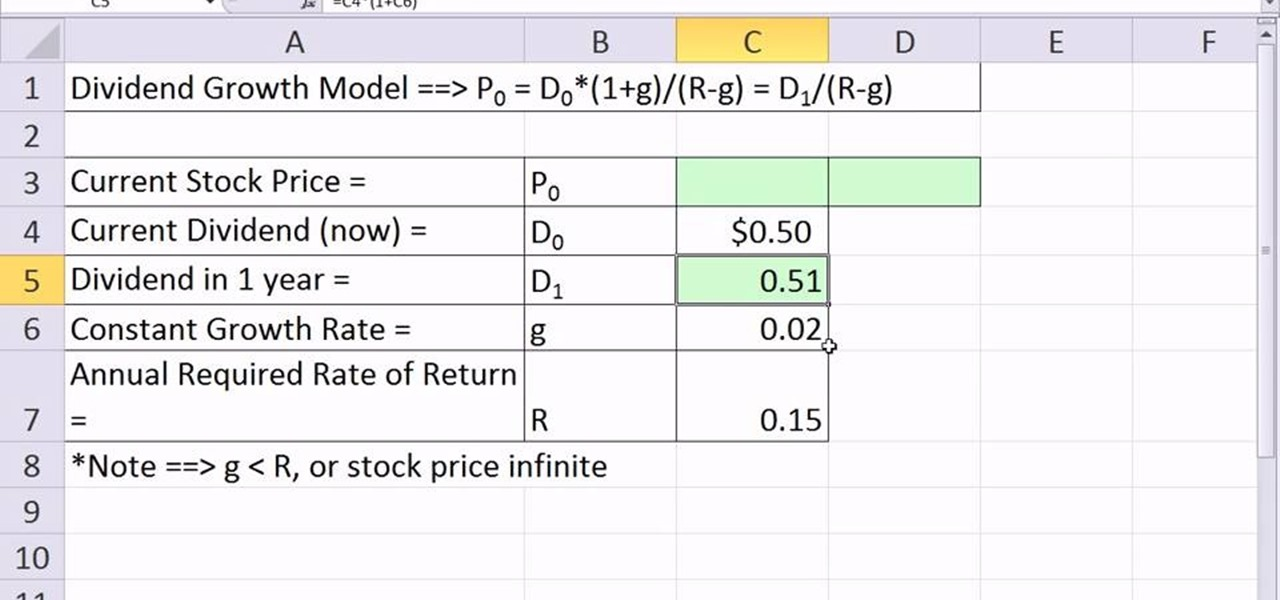 How to Value a stock with predictable dividends in Microsoft Excel