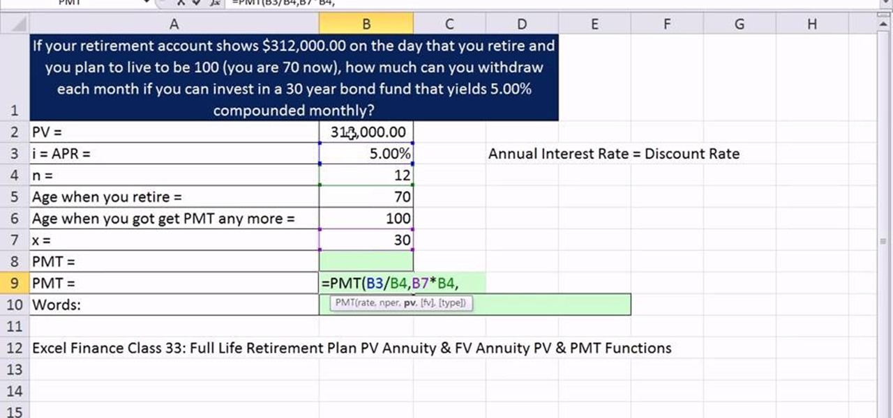 How to Calculate monthly retirement income in Microsoft Excel