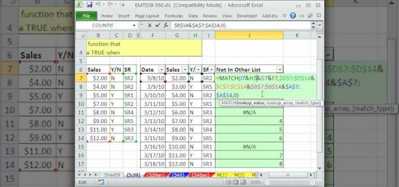 How to Compare two lists in Excel with match, join and filter - compare list