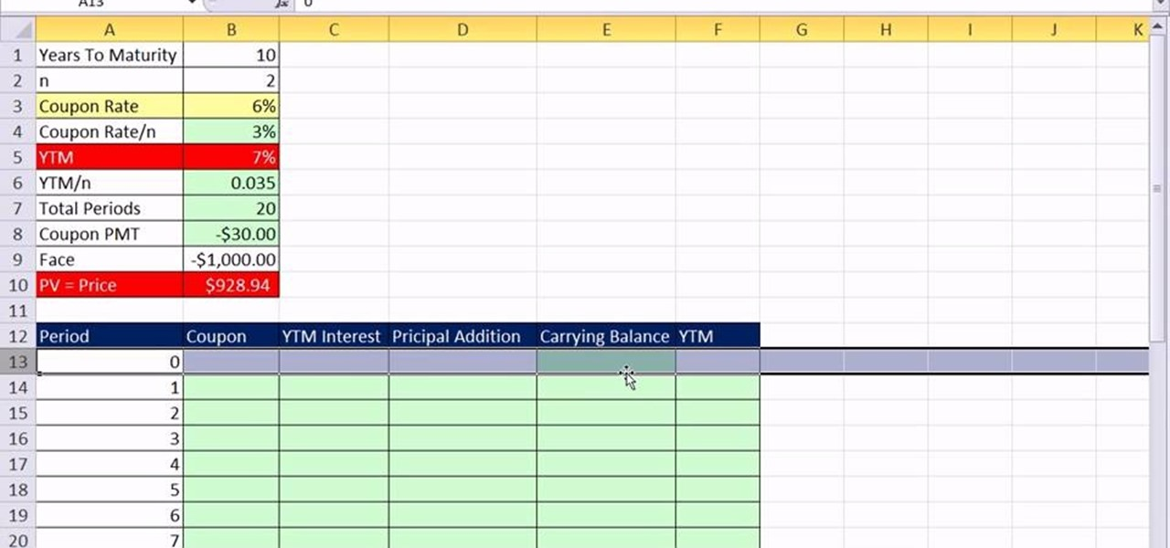 How to Create a bond discount or premium amortization table in Excel
