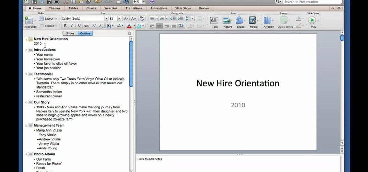 How to Create and use outlines in Microsoft PowerPoint for Mac 2011