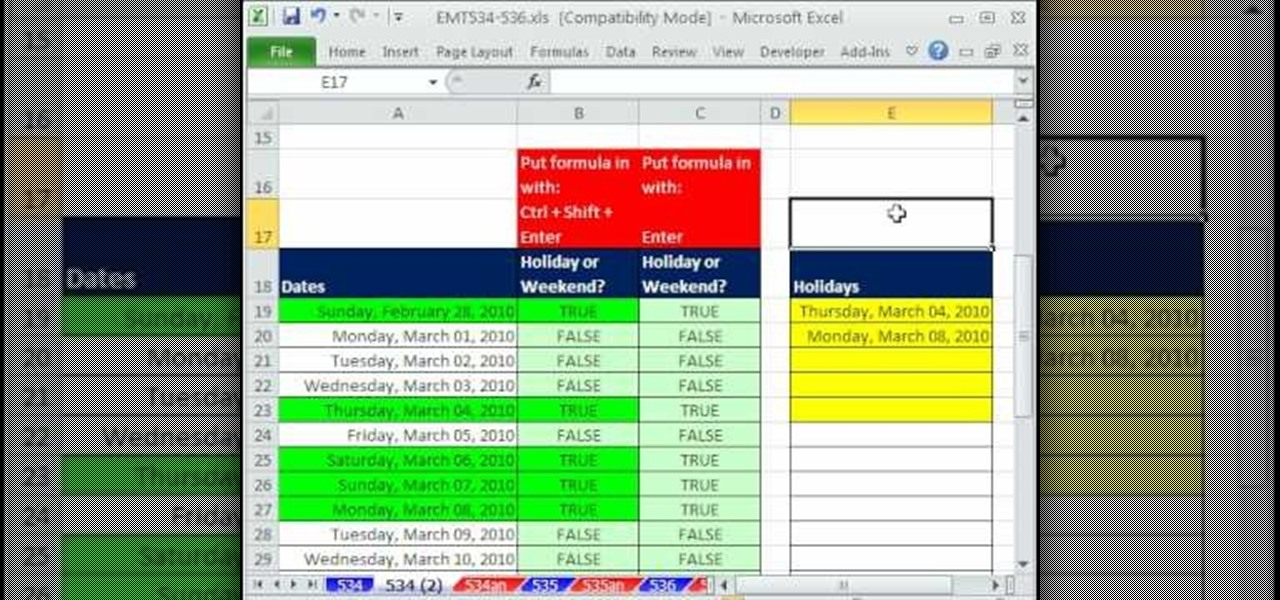 How to Format dates with the WEEKDAY function in Excel « Microsoft