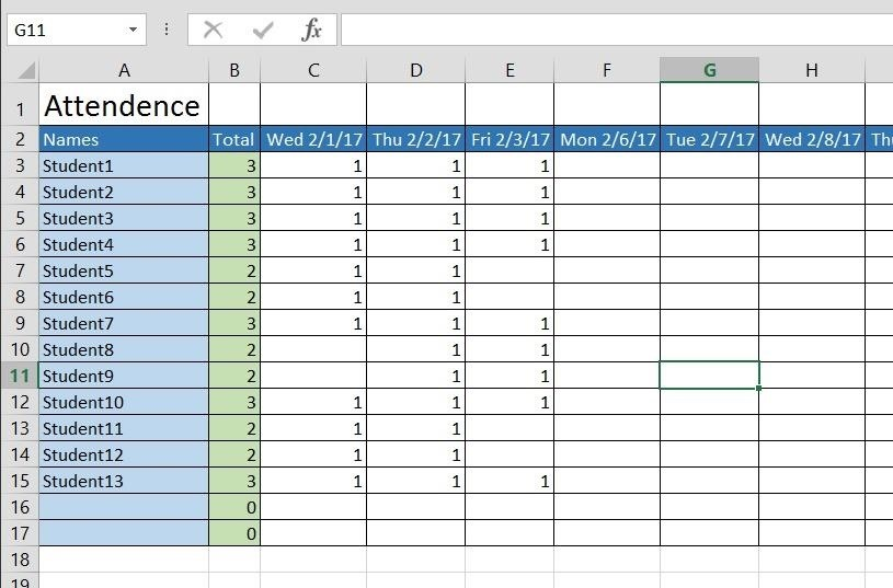 How to Create a Basic Attendance Sheet in Excel « Microsoft Office - attendance register sample