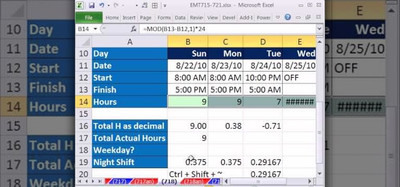 How to Calculate hours worked while subtracting lunch hours in Excel