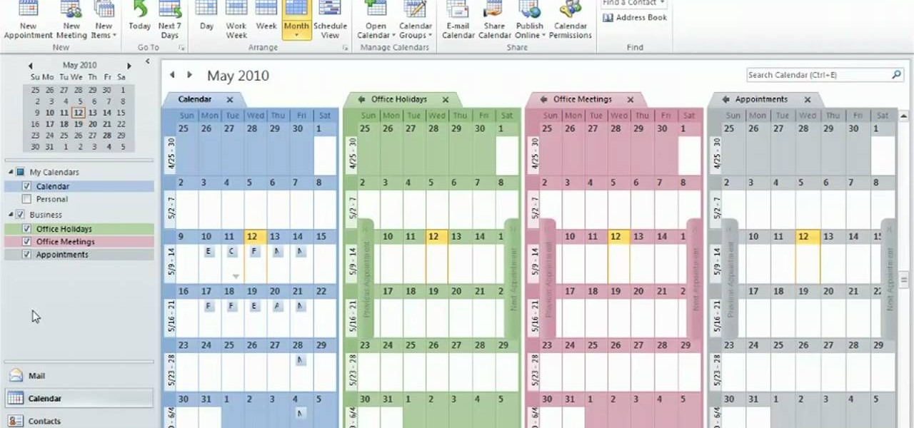 How to Create and use multiple calendars in Microsoft Outlook 2010 - microsoft office calendar