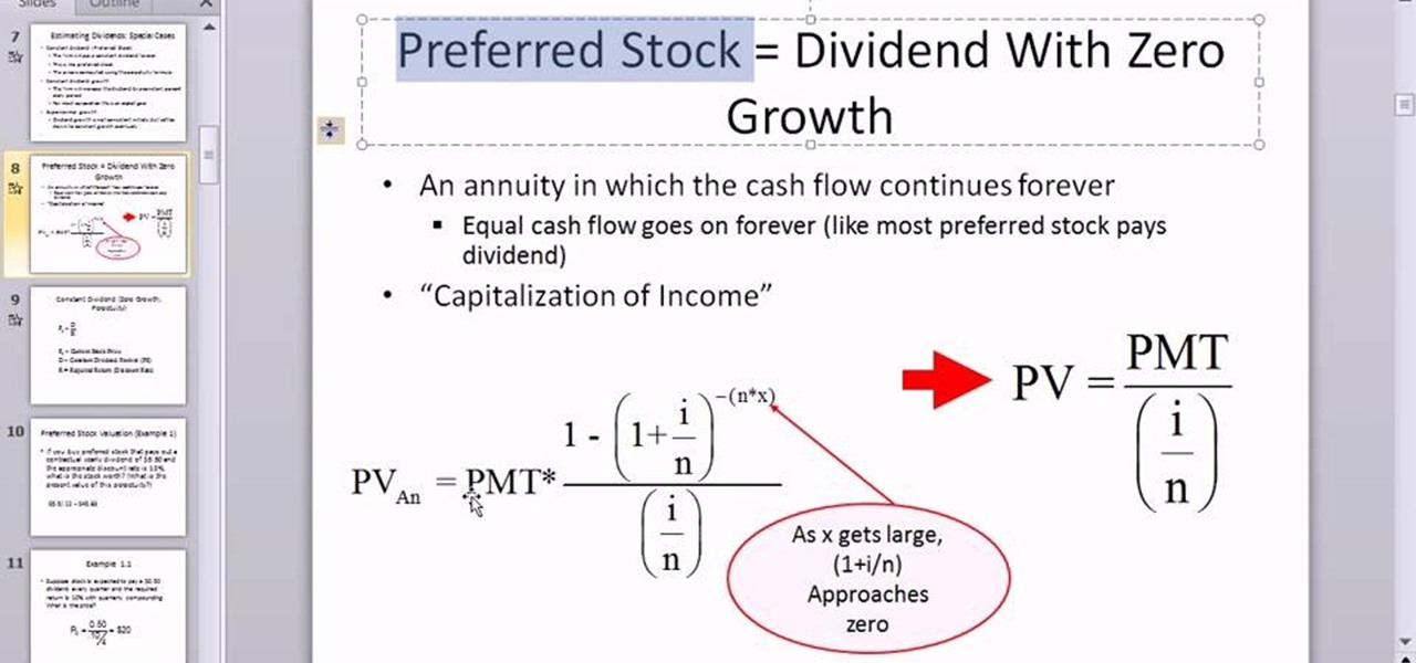 How to Calculate the value of a preferred stock in Microsoft Excel