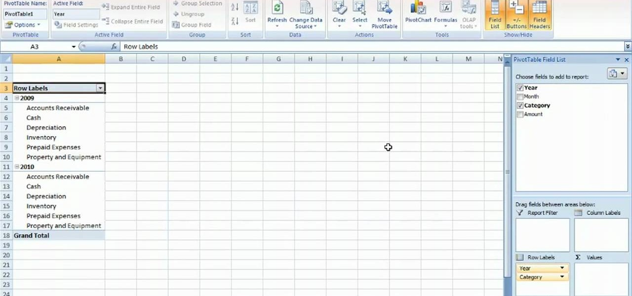 How to Summarize budget data via PivotTable in MS Excel 2010 - pivot table in excel