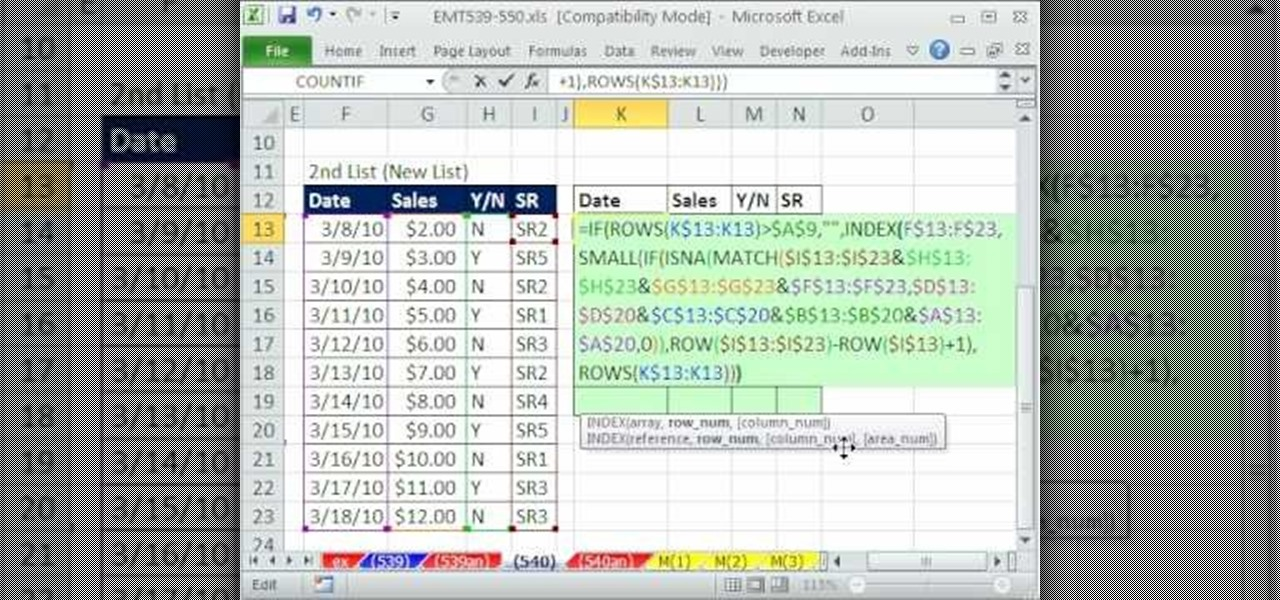 How to Compare two lists and extract the new values in Excel