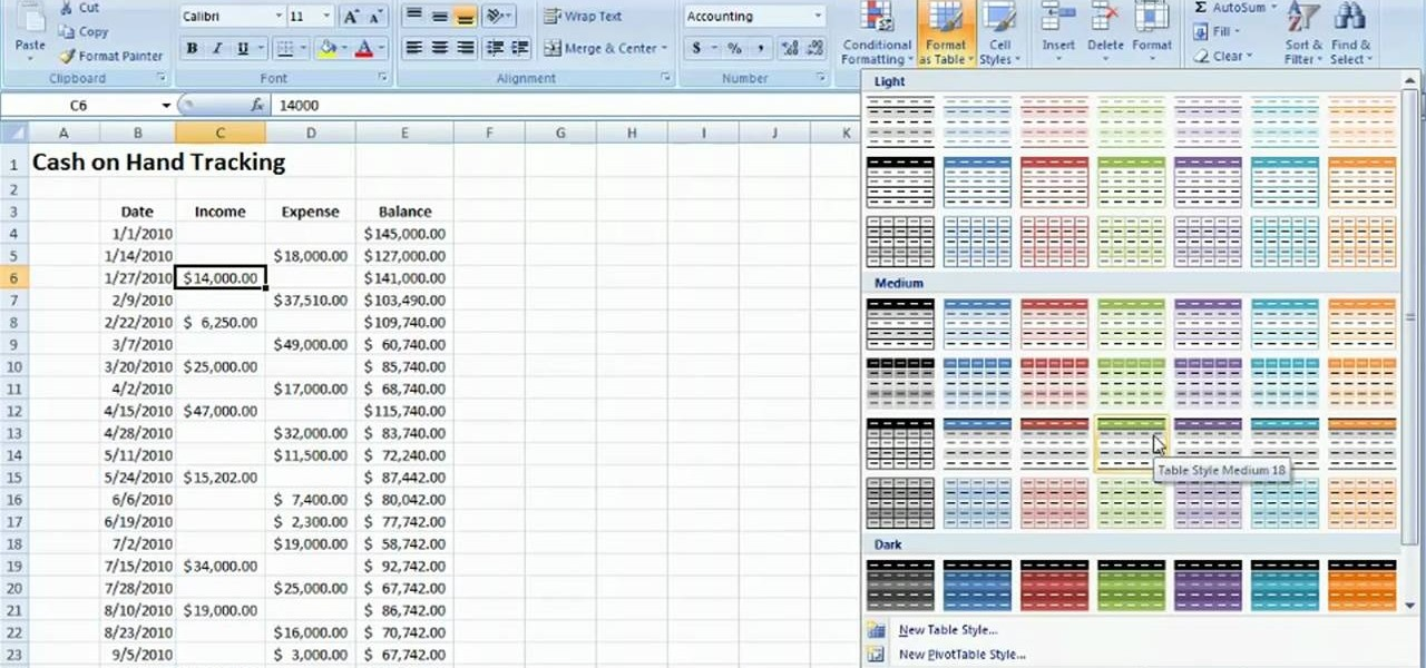 How to Track cash on hand with a table Microsoft Excel 2010