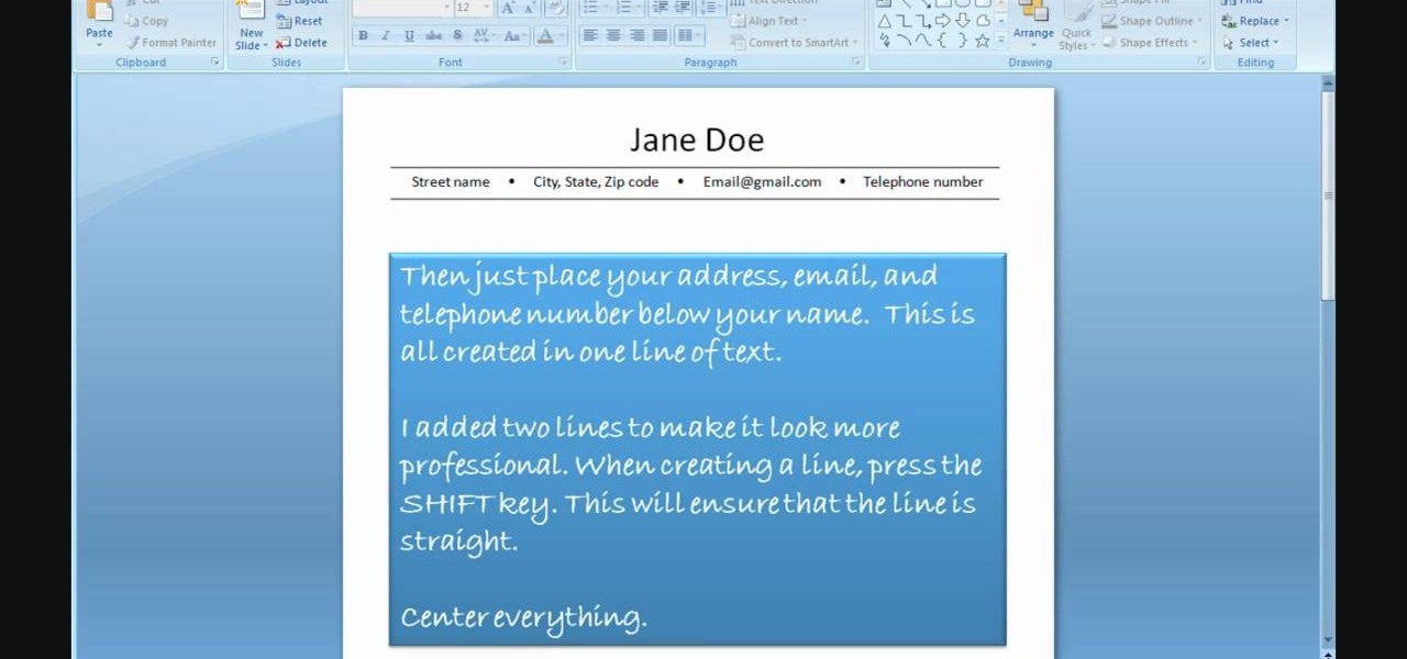 How to Create a resume using PowerPoint « Jobs  Resumes  WonderHowTo - How Can I Make A Resume