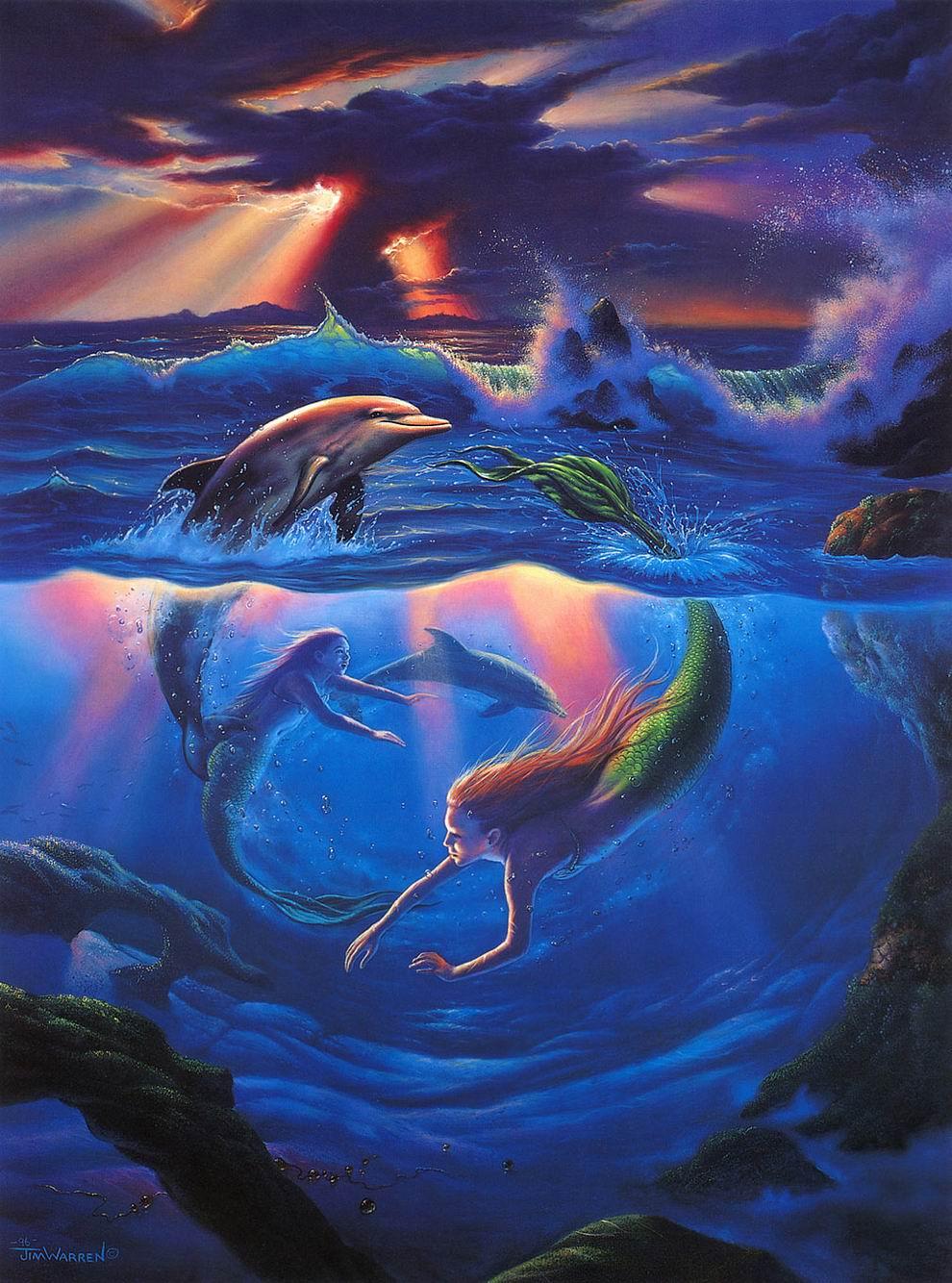 Cute Mermaids Wallpaper Jim Warren Art Xcitefun Net