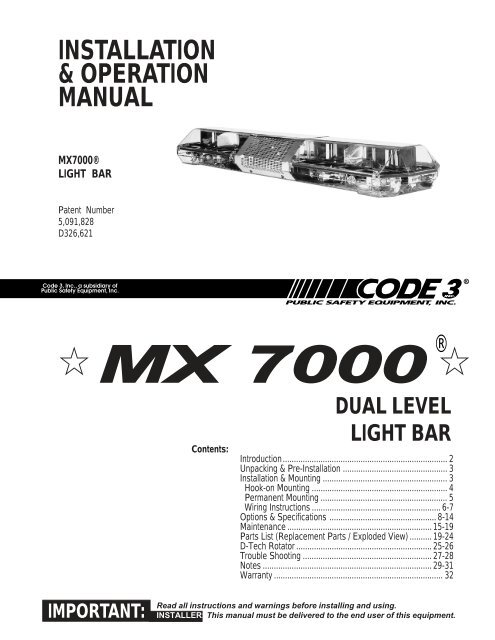 MX 7000 Installation Guide - Code 3