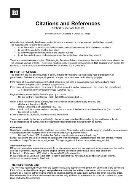 Citations and References - BI Norwegian Business School