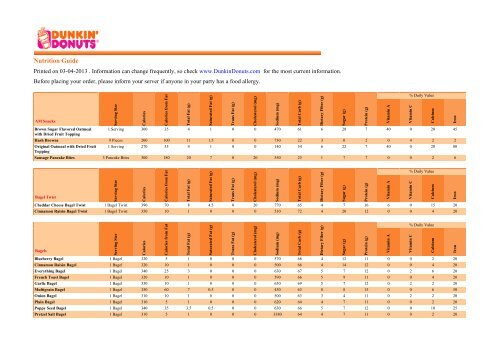 Printable Nutrition Guide - Dunkin\u0027 Donuts