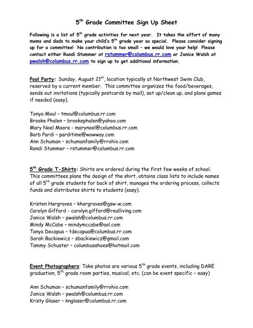 5th Grade Committee Sign Up Sheet - Windermere PTO