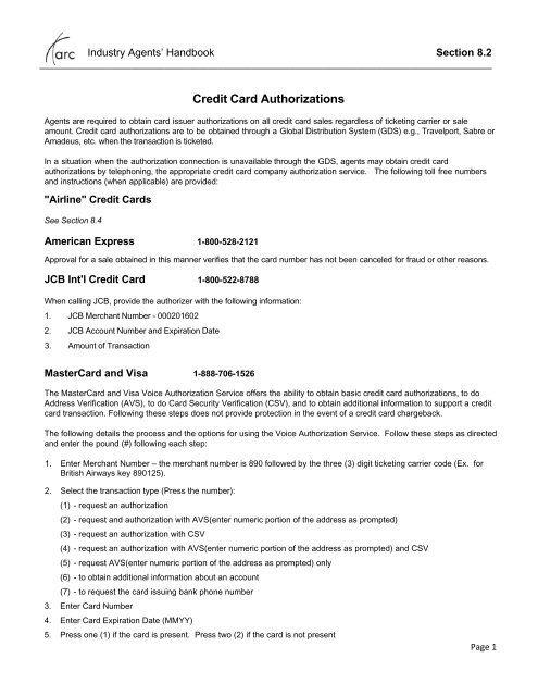 Section 82 - Credit Card Authorizations - Arc