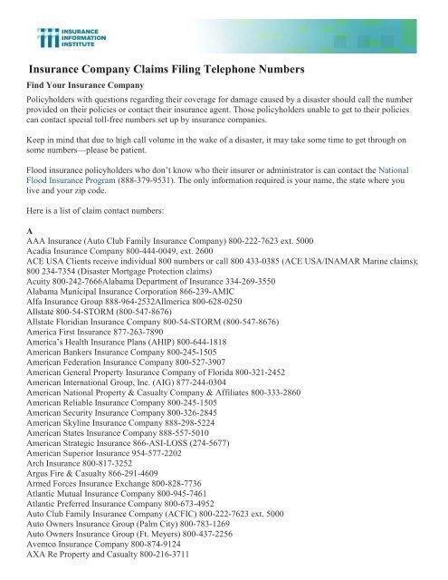 Insurance Company Claims Filing Telephone Numbers - Alabama