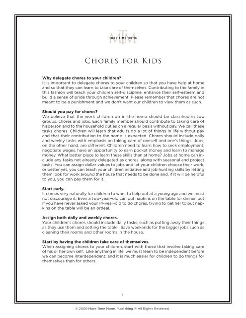 Chores for Kids - More Time Moms