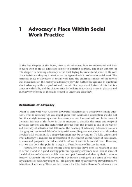 1 Advocacy\u0027s Place Within Social Work Practice - McGraw-Hill