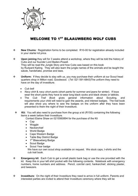 Download the Cub Introductory Letter - 1st Blaauwberg Sea Scouts